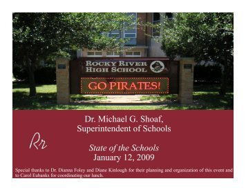Dr. Michael G. Shoaf, Superintendent of Schools State - Rocky River ...