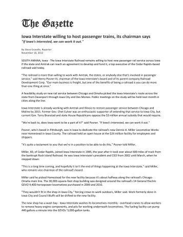IAIS willing to host passenger trains, its chairman says - Railroad ...