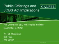 Securities Offerings and JOBS Act ImplicationsClick ... - RR Donnelley