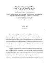 Creating Value in a Digital Era: Exploring the Experimental Economy