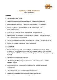 Bündnis 21/RRP Programm (Kurzfassung) Bildung Gesundheit