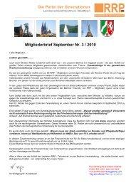 Mitgliederbrief September Nr. 3 / 2010 Die Partei der Generationen