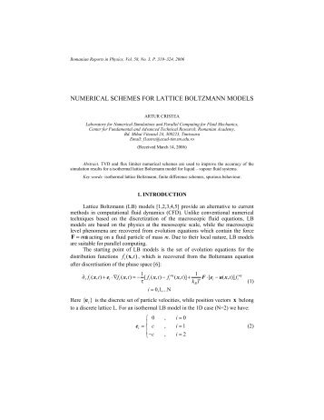 numerical schemes for lattice boltzmann models - Romanian ...