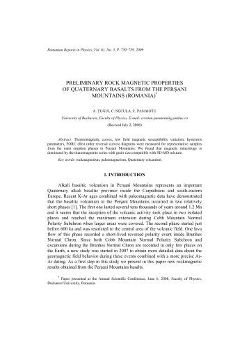 preliminary rock magnetic properties of quaternary basalts from the ...