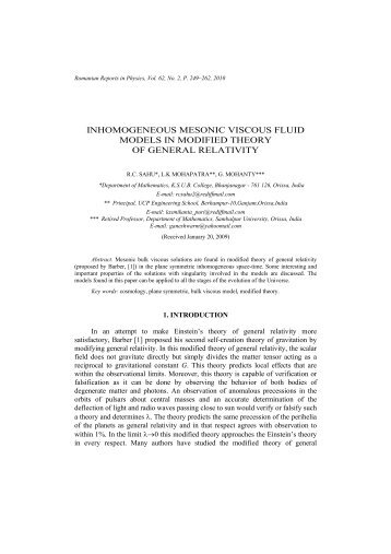 View - Romanian Reports in Physics