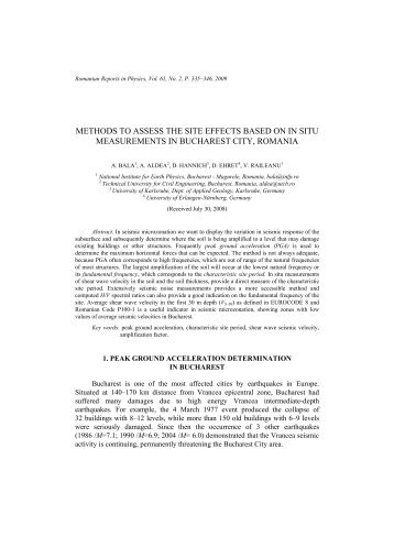 methods to assess the site effects based on in situ measurements in ...
