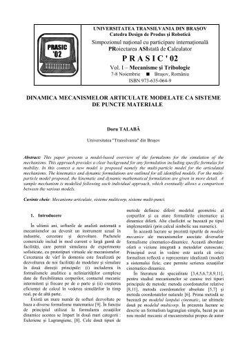 dinamica mecanismelor articulate modelate ca sisteme de puncte ...