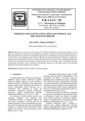 forma si utilitate in unele aplicatii tehnice ale mecanicii fluidelor