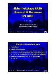 Sicherheitstage RRZN, Universität Hannover, SS 2005 (Prof. M ...