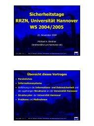 Sicherheitstage RRZN, Universität Hannover, WS 2004/2005 (Prof