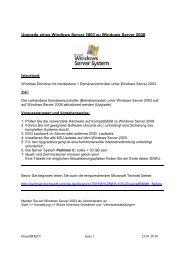 Windows Server 2003 Upgrade auf 2008 - RRZN