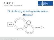 """C# - Einführung in die Programmiersprache """"Methoden"""" - RRZN"""