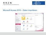 Import aus Excel - RRZN