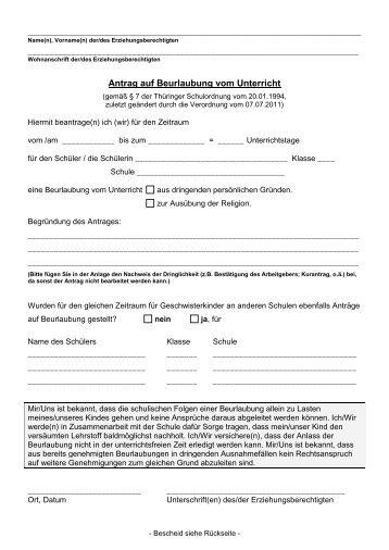 Antrag auf Beurlaubung vom Unterricht