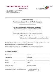 FACHOBERSCHULE - Realschule Adenau