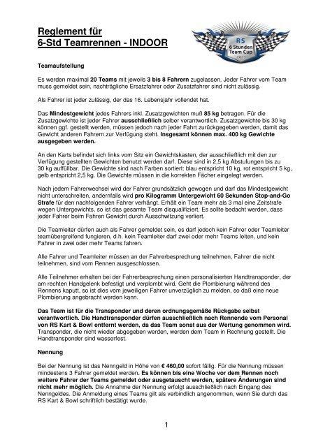 Reglement für 6-Std Teamrennen - INDOOR