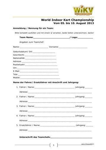 Anmeldeformular für Teams - Ralf Schumacher Kartcenter