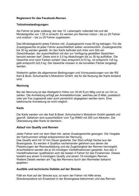 Reglement für das Facebook-Rennen Stand 07.01.2013 1 - Ralf ...