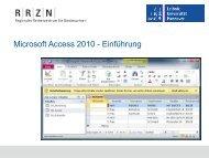 Microsoft Access 2010. Einführung - RRZN
