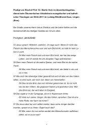Predigt von Bischof Prof. Dr. Martin Hein im Abendmahlsgottes ...