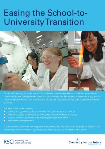Easing the School-to- University Transition - Royal Society of ...