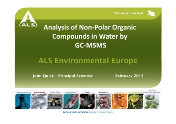 Analysis of Non-Polar Organic Compounds in Water by GC-MSMS