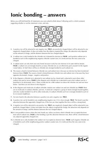 Ionic bonding â\u20ac\u201c answers