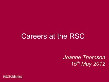 Careers at the RSC - Royal Society of Chemistry