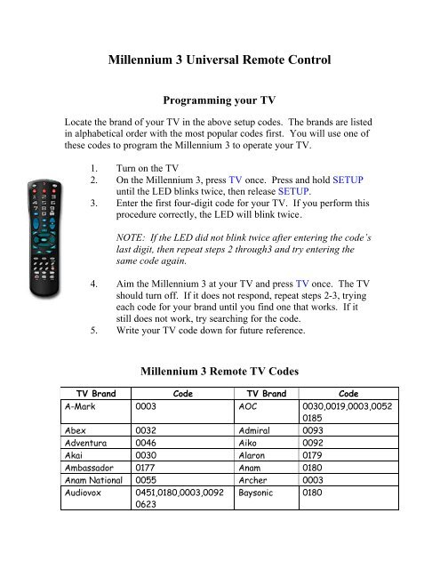 Remote Codes - Millennium 3 - BendBroadband