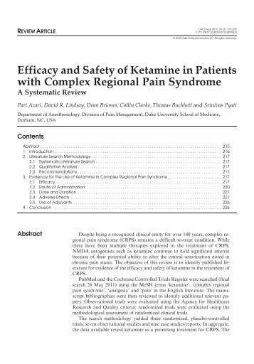 Efficacy and Safety of Ketamine in Patients with Complex Regional ...