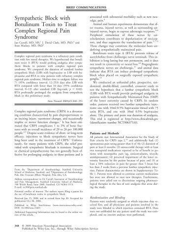 Sympathetic block with botulinum toxin to treat complex regional ...