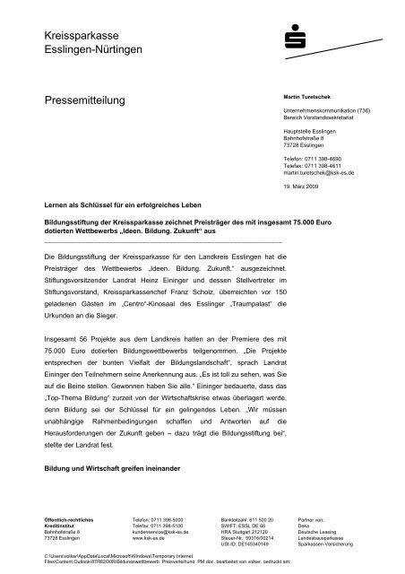 Kreissparkasse Esslingen-Nürtingen Pressemitteilung