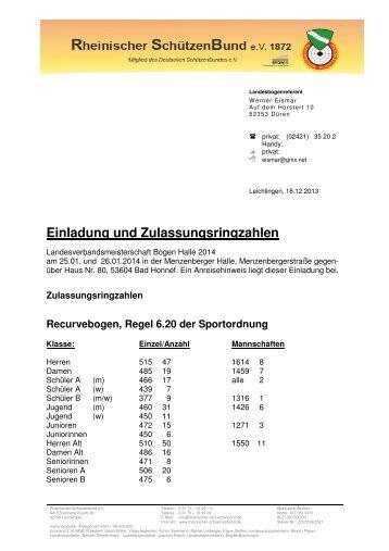 Einladung und Zulassungsringzahlen LVM Halle 2014 - RSG Düren