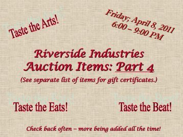 Auction Items: Part 4 - Riverside Industries