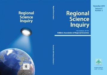 RSI December 2010 Volume II Number 2 - Regional Science Inquiry