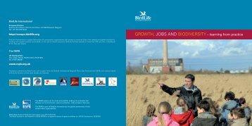 GROWTH, JOBS AND BIODIVERSITY - BirdLife International