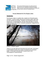 Access Statement for RSPB Fen Drayton Lakes nature reserve