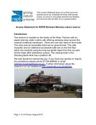 Access Statement for RSPB Rainham Marshes nature reserve