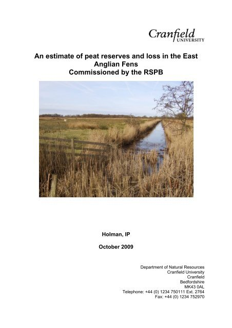 An estimate of peat reserves and loss in the East Anglian Fens - RSPB