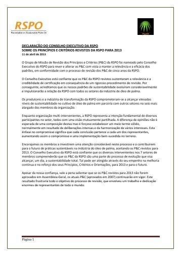 declaração do conselho executivo da rspo sobre os princípios e ...
