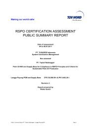 RSPO CERTIFICATION ASSESSMENT PUBLIC SUMMARY REPORT