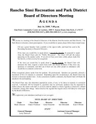 Rancho Simi Recreation and Park District Board of Directors Meeting