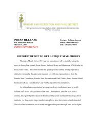 PRESS RELEASE - Rancho Simi Recreation and Park District