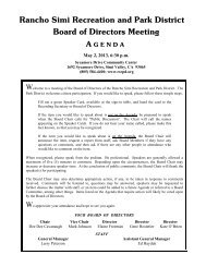 Agenda - Rancho Simi Recreation and Park District