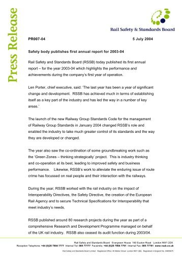Safety body publishes first annual report for 2003-04 - RSSB