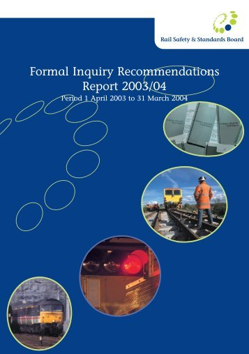Formal Inquiry Recommendations Report 2003-04 - Period 1 - RSSB