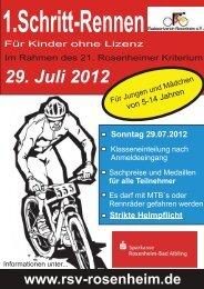 Flyer / Anmeldeformular für 1. Schritt Rennen - RSV Rosenheim