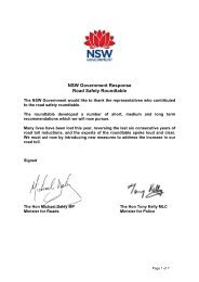 NSW Government Response to 2009 Road Safety Roundtable