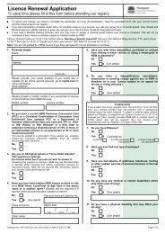 Licence Renewal Application - RTA