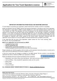 Application for Tow Truck Operator Licence - RTA